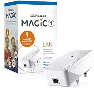 Devolo Magic 1-1200 LAN:稳定家庭工作,高性能附加电力线适配器,高达 1200 Mbps 适用于您的电力线家庭网络,任何墙壁插座互联网,即插即用,易于配置