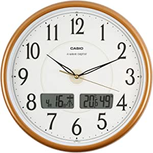 CASIO(卡西欧)挂钟 WAVE CEPTOR 电波表 模拟 温度计 湿度计 ITM-200J-5JF 珍珠棕色