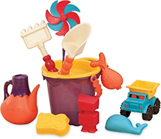 B. toys by Battat B. Ready Beach Bag 带有网状面板和11个时髦沙滩玩具的沙滩手提袋–不含邻苯二甲酸盐或BPA – 适合18个月以上儿童,紫色桶