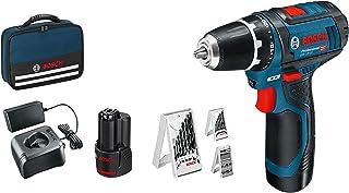 Bosch 博世 Professional 电动螺丝刀 12V系统 GSR 12V-15 (含2x2.0电池+充电器,39件装,袋装),亚马逊版