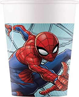 Procos 93468 – 派对杯 蜘蛛侠团队 Up,*大容量 200 毫升,8 件,一次性杯,一次性纸制,儿童生日,派对餐具,FSC