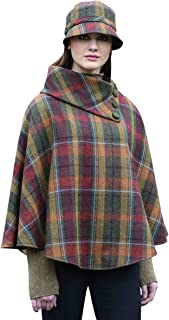 Mucros Weavers 女士格子斗篷,爱尔兰制造,* 爱尔兰羊毛