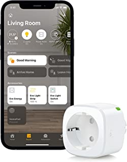 Eve Energy – 智能开关插座(德国品牌质量),通过 TÜV 认证,耗电量测量,时间表,开关设备打开和关闭,无需桥接,智能插头(Apple Homekit)