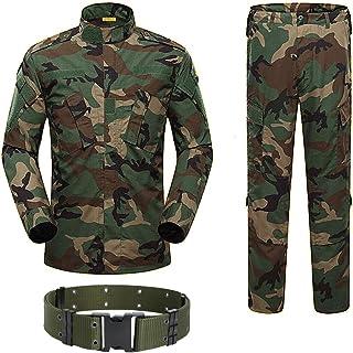 H World Shopping 军事战术男式狩猎战斗 BDU 制服衬衫和裤子带皮带 Woodland Camo