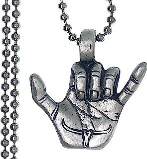 Ohdeal4U 手势Shaka 标志 冲浪文化冲浪者 悬挂 松散 夏威夷锡镴吊坠 银珠链