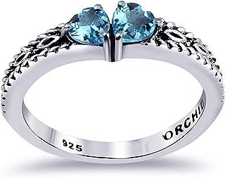 Orchid Jewelry 瑞士蓝黄玉 0.59 克拉心形 925 纯银缠绕戒指情人节礼物