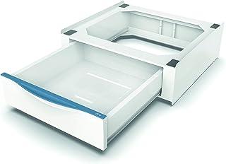 Meliconi Base Torre Extra L60 重叠套装,适用于洗衣机和烘干机,带可伸缩抽屉和*带,金属扣,意大利制造,白色