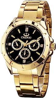 ShoppeWatch 男式金色手表 IP 镀粗金属手镯 大黑色表盘 Reloj de Oro Dorado Hombres SWCX019A