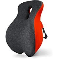 腰部支撑枕 适用于办公椅*泡沫背垫 透气网眼 缓解背部* 人体工程学腰枕 适用于电脑/办公椅、汽车座椅等(灰色 + 红色…