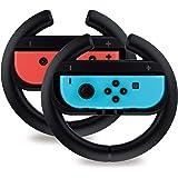 TalkWorks 任天堂开关方向盘控制器(2 个装) | 赛车游戏配件 Joy Con 控制器手柄适用于马里奥赛车,黑…