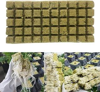 Rockwool Grow Cubes 入门床单,50/100 件岩羊毛方块,用于切割、克隆、植物传播,温室压缩基石木木入门方块,用于大力植物生长(尺寸:100 件)