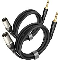 XLR TRS 电缆 6 英尺(约 1.8 米)2 件装,EBXYA 1/4 英寸(约 1.3 厘米)TRS 至 XLR…