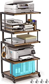 VOGUSLAND 5 层打印机支架,工业台下打印机推车和桌面打印机支架,带可锁定车轮和腿垫,适用于办公室和家庭(复古棕色,5 层)
