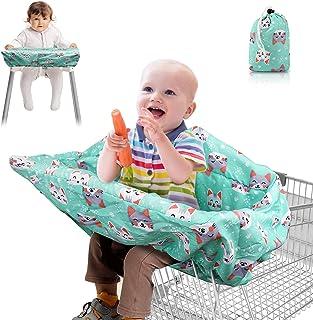 Lybile 2 合 1 购物车罩和高脚椅套,适用于婴儿幼儿杂货车罩座垫,完全*背带手推车高脚椅套,可机洗婴儿手推车罩可折叠存储