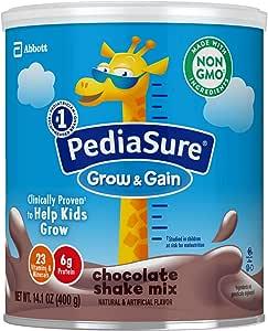 Abbott 雅培 PediaSure 小安素 Grow and Gain Non-GMO 儿童营养奶昔,无麸质,含蛋白质,益生元,DHA,抗氧化剂以及维生素和矿物质,巧克力味,14.1盎司,400克,3罐