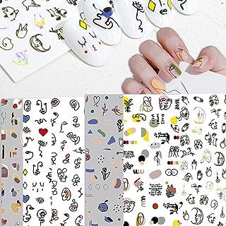 涂鸦趣味美甲艺术贴纸,抽象,开花,hyuna *贴纸,线条抽象面部*贴纸,适合女士女孩儿童(5 张)