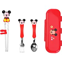 Disney 迪士尼 3D 幼儿米奇红色餐具餐具餐具套装 适合右手儿童 - 不锈钢叉勺训练筷子便携盒,4件套