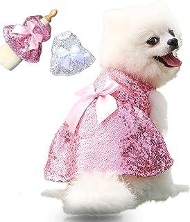 TOOCN 2 件亮片狗狗礼服,可爱的粉红色生日小狗礼服,宠物服装 - 女孩狗衣服,适合小型中型女性小狗和猫婚礼/生日/节日服装(L 码)