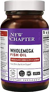 New Chapter 鱼油软胶囊,Wholemega野生阿拉斯加三文鱼油,含Omega-3 +维生素D3 +虾青素+可持续捕获, 120粒