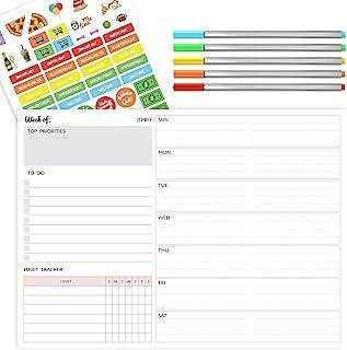 JJPRO 每周计划垫 - 20.32 厘米 x 27.94 厘米 - 桌面日历规划记事本,带 50 张无日期撕纸、待办事项列表、习惯跟踪器、笔记、日程安排、组织者