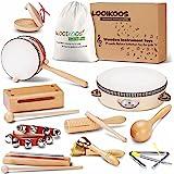 LOOIKOOS 幼儿乐器 天然木制打击乐器 儿童玩具 学前教育 音乐玩具套装 适合男孩和女孩 带收纳袋