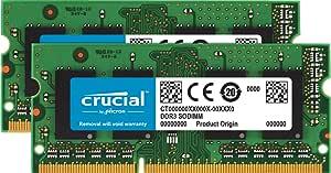 Crucial 16GB Kit (8GBx2) DDR3-1600 MT/s (PC3-12800) 204-Pin SODIMM Notebook Memory CT2KIT102464BF160B / CT2CP102464BF160B