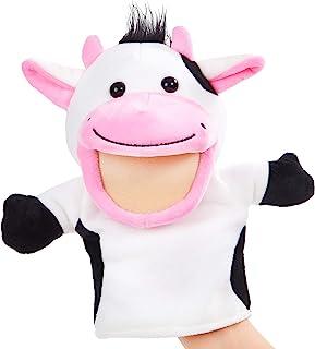 CozyWorld 奶牛木偶柔软手偶 毛绒玩具秀 适合成人和儿童的*开发礼物,白色,10 英寸(约 25.4 厘米)