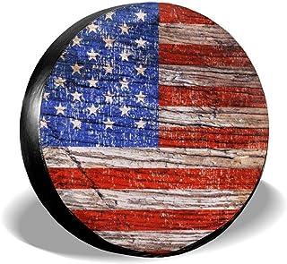 cozipink 美国国旗 复古 美国国旗 备用轮胎套 车轮保护 防风雨 通用拖车 Rv SUV 卡车 露营车 旅行拖车 35.56 厘米 38.10 厘米 40.64 厘米 43.18 厘米