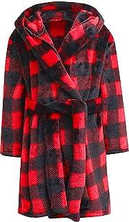男童毛绒柔软羊毛印花连帽浴袍睡袍,适合幼儿男孩大男孩
