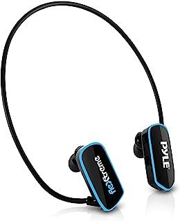 防水 MP3 播放器游泳耳机 - 潜水式 IPX8 弹性环绕式耳机内置可充电电池 USB 连接带 4GB 闪存和替换耳塞 - Pyle PSWP6BK.5