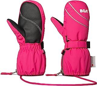 BQA 儿童滑雪手套幼儿冬季雪新雪丽防水连指手套带绳适合男孩女孩