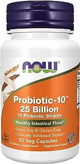 NOW Foods 诺奥 补品,益生元10,250亿,含10种益生元菌株,经过验证的菌株,50粒素食胶囊