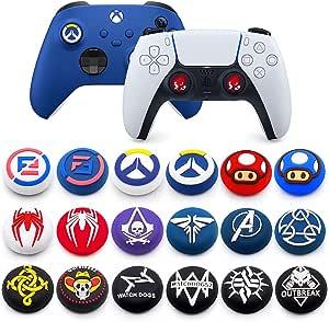 2 件摇杆帽硅胶橡胶拇指棒手柄盖,适用于 PS5 PS4 PS3 Xbox 360 Xbox One X Elite 控制器(颜色 1)