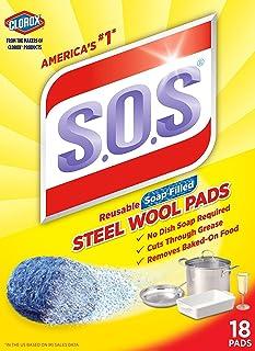 Clorox The 98018 S.O.S. BBQ/烧烤工具附件 18 片装钢羊毛肥皂垫 2组 B01NA77PYT