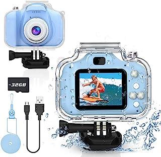Yoophane 儿童防水相机礼品适合 6 7 8 9 10 岁男孩动作儿童相机适合 3-12 岁男孩圣诞节生日礼物水下视频录像机,带 32GB SD 卡(蓝色)