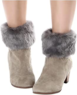 ELLITE 女式冬季人造皮草靴袖口钩编针织暖腿短裤
