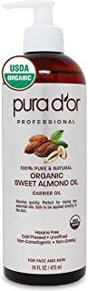 PURA D'OR 运载油:*甜杏仁油 453.59 毫升 USDA 认证**天然无六角烷舒缓维生素 E 油 适用于皮肤和脸部