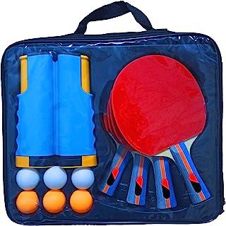 乒乓球拍套装带乒乓球网,4 个乒乓球拍和 6 个乒乓球,包括方便的便携式包,适合专业人士和业余爱好者、儿童成人、室内和室外玩耍