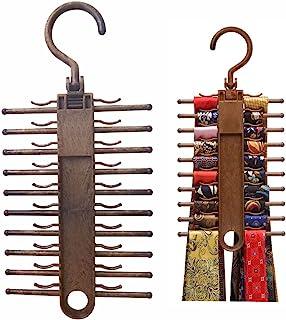领带架挂钩 2 条装防滑领巾架挂钩皮带挂钩 360 度旋转,可*高达 20 个领带,*实用节省空间的塑料收纳柜