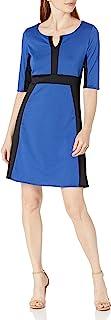 Star Vixen Women's Elbow Sleeve Ponte Knit Colorblock Fit N Flare Dress
