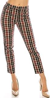 Over Kleshas 女士柔软红色组合格子梭织裤