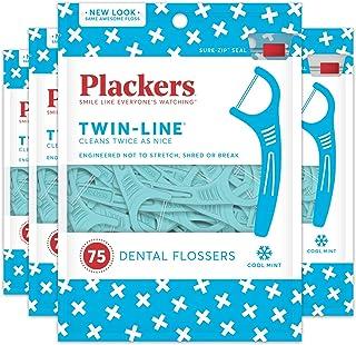 plackers 双线牙线 75支(4包装),蓝色