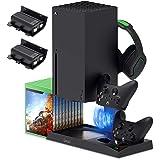 适用于 Xbox 系列 X 的垂直支架,带冷却风扇,Xbox 系列 X 控制器的充电站底座,带 10 个游戏存储整理架…
