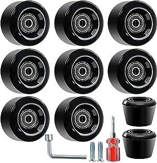 Nezylaf 8 件装四轮滑轮,带安装轴承和 2 个脚趾塞,用于双排滑配件,四轮滑板和滑板,适合户外或室内使用,32 毫米 x 58 毫米 82A