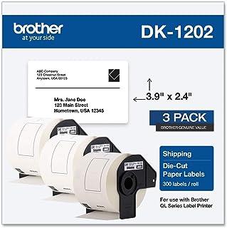 Brother Genuine DK-12023PK 模切运输纸标签,持久可靠,每卷 300 个标签,(3) 卷,白色(DK12023PK)