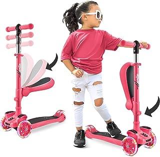 3 轮儿童滑板车 - 站和巡航儿童/幼儿玩具折叠滑板车 w/可调节高度,防滑甲板,闪光轮灯,适合 2-12 岁男孩/女孩 - Hurtle HURFS42P (紫色)