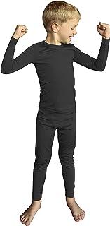 POPINJAY 男孩羊毛保暖套装 - 儿童长袖衬衫和裤子内衣