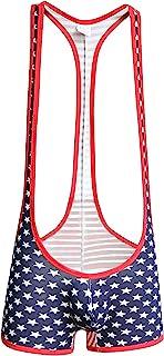 YUROUROU 男式连体裤 美国国旗图案 平角内裤 紧身连衣裤 连体裤 膨胀 透气运动内衣