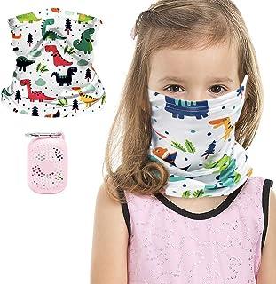 儿童头巾面罩耳挂颈部绑腿,适合男孩女孩,带硅胶袋户外巴拉克拉瓦盔式面罩