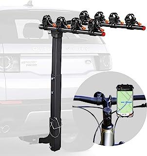 Vedouci 自行车车架自行车挂架双可折叠自行车载架适用于汽车、卡车、SUVS 和小型货车,带 2 英寸挂接接收器,赠送一个自行车手机支架(4 辆自行车)
